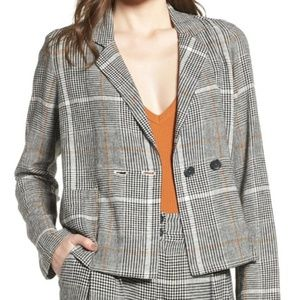 BP. Plaid Linen Blend Blazer